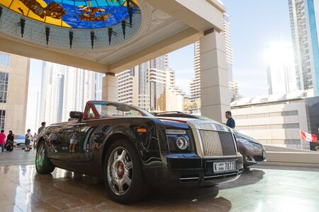 Dubai, UAE - January 11, 2019: Rolls-Royce motor car at hotel Redactioneel