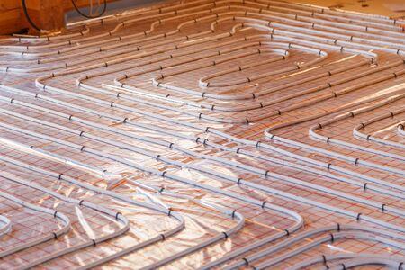 Underfloor surface heating pipes. Low temperature heating concept