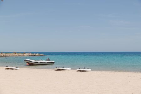 inflatable boats on a Red sea shore.