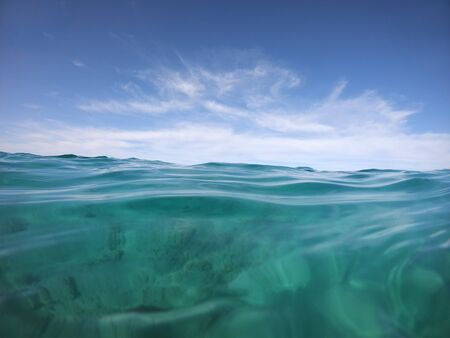 boundless seascape through the eyes of a swimmer in the open sea