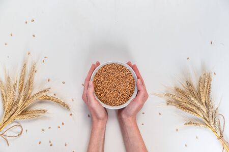 bowl with rye grains in female hands on a white background. Flat lay, top view