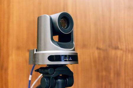 Camera broadcasting conference live. 版權商用圖片