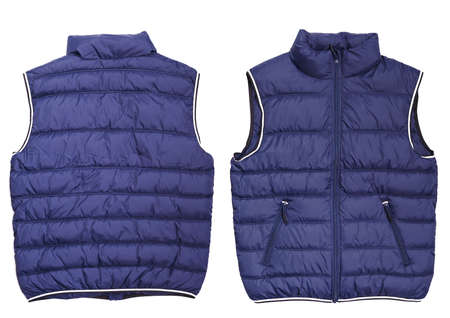Male blue quilted vest isolated on white background. Mockup. Both sides