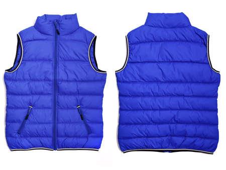 Female blue quilted vest isolated on white background. Mockup. Both sides Reklamní fotografie