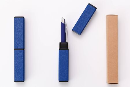 Souvenir business pen in a gift case. Blue gift box with pen. Corporate style