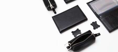 Fashionable black leather male accessories isolated on white background. Male accessories.