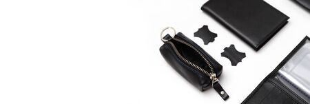 Fashionable black leather men's key holder case isolated on white background. Male accessories Stockfoto
