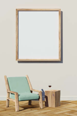 Blank picture mockup and wooden chair with table made of raw timber Standard-Bild