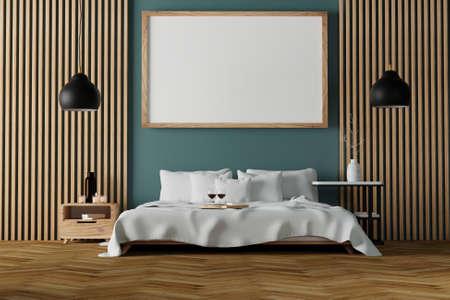 Modern bedroom interior with empty wooden frame on wall mockup Standard-Bild