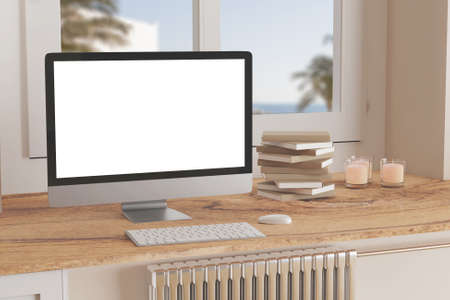 Blank computer desktop with keyboard on table at window, books on marble table in sunny room, mockup Standard-Bild