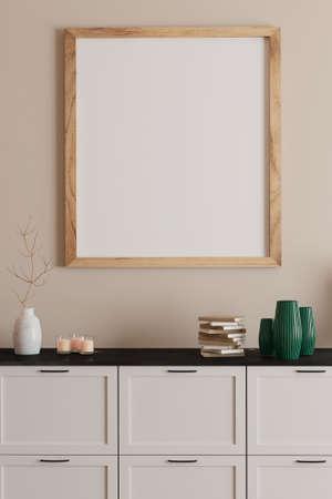 Blank framed print on white wall in beautiful danish styled interior room Standard-Bild