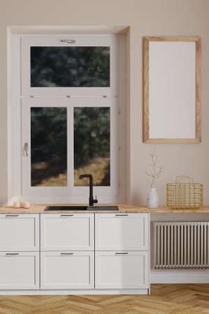 Modern scandinavian kitchen interior with window and wooden empty frame on wall. Minimalist interior Standard-Bild