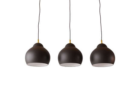 Three black ceiling lamps isolated