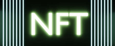 NFT non fungible token on blue background. High-tech technology texture.
