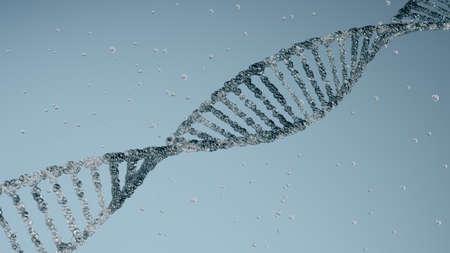 DNA molecular structure on blue background.