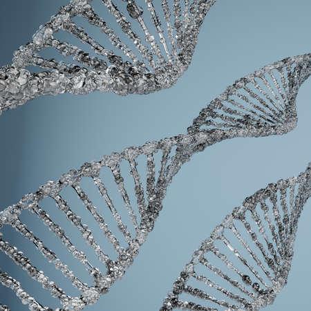 DNA molecular structures on blue background.