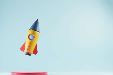 Rocket with copy space for text on blue background. Startup business concept. 3D render Standard-Bild