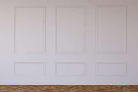 Classic empty interior wall with mouldings. Digital illustration. 3d rendering