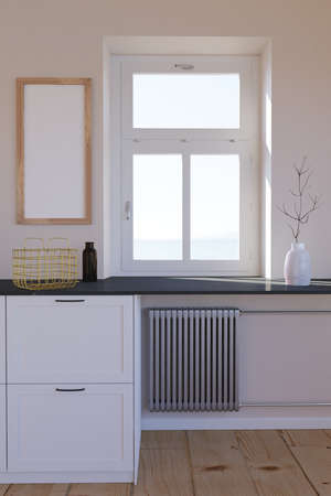 Room interior. furniture with heating radiator, window and empty wood frame on wall. Standard-Bild