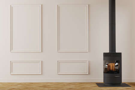 Modern black metal fireplace in empty room interior. Classical wall design with mouldings. 3d render