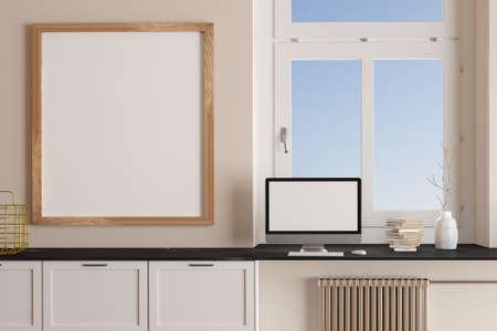 Room interior. Desktop with blank screen on workplace and blank frame. Mockup, 3d render Standard-Bild