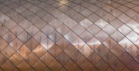Roof roof texture made from copper metal tiles Standard-Bild