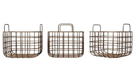 Wire copper basket. Three side view, isolated on white. Mock up. 3d render