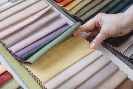 Hand pick the colorful upholstery samples in the shop