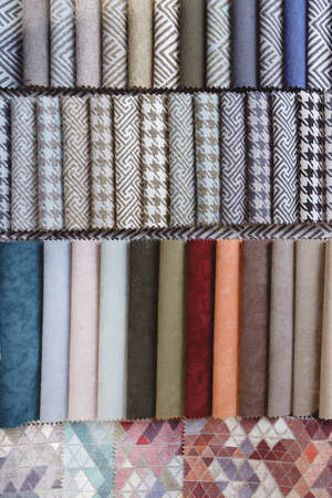 Colorful upholstery samples in the shop