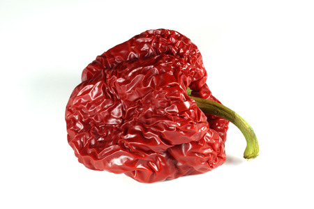 Incorrectly stored vegetables, aging wrinkled red pepper