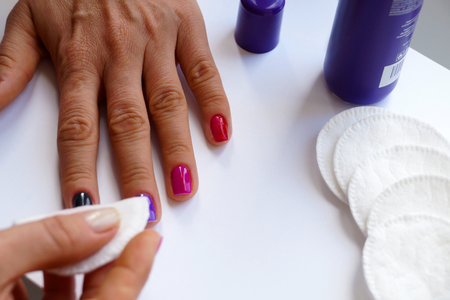 Female hands during the washing process. Stock Photo