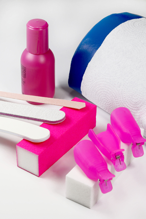A set for removing acrylic, glitters, hybrids, gel and nail polish Stock Photo
