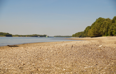 No rain, drought. Very low water level on one of the largest rivers in Europe of the Danube.