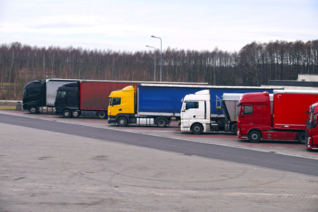 Parking for trucks at the highway. Rest time for drivers.