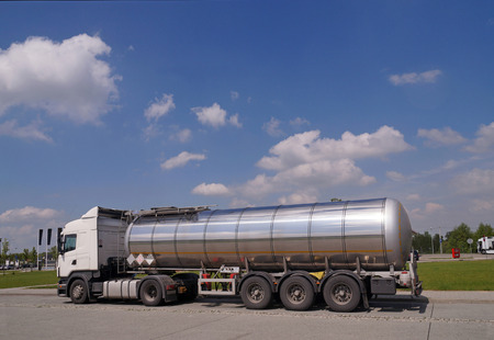 Long vehicle.. A truck with a tanker designed to transport  of dangerous substances. Long vehicle. Reklamní fotografie