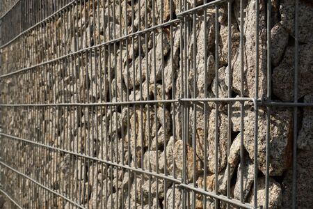 Gabion. Close-up on a steel, galvanized structure filled with spectacular pieces of rock. Reklamní fotografie