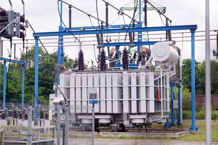 A power substation in which electricity is distributed at different voltage levels. Transformer station.