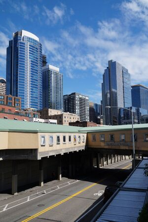 Downtown Seattle. View of buildings from the waterfront. Stock fotó