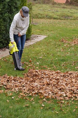The device is very helpful in autumn gardening Scraping the leaves with the help of a blower. .