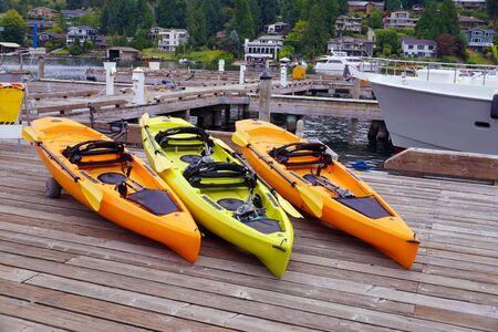 Lake Washington. Lake pier, kayaks for rent.
