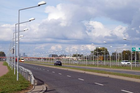 Warsaw. Poland. Extremely extensive expressway lighting system. Stock fotó