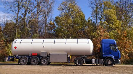 Truck with a specialist semi-trailer. Road tanker with thermal insulation designed for the carriage flammable substances.