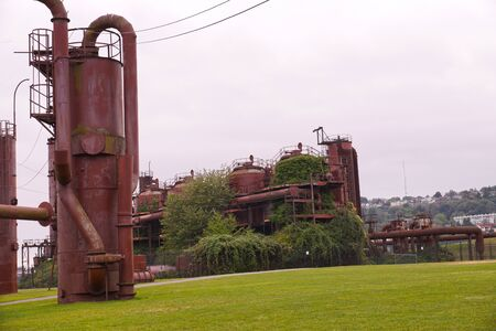 USA. Gas Works Park, Seattle, Washington is a public park on the banks lake Washington. Stock Photo