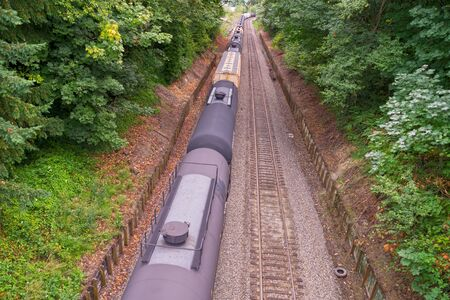 American Railway, Washington state. Extremely long freight train. Stock Photo