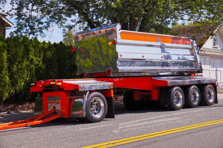 Transportation in America. A striking semi-trailer truck full of chrome elements.