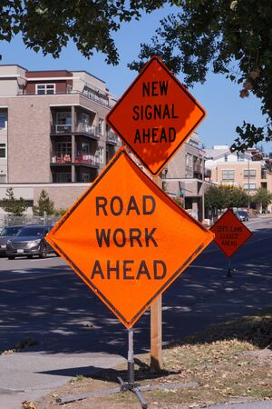 Road signs informing about a change in traffic organization.Road works.
