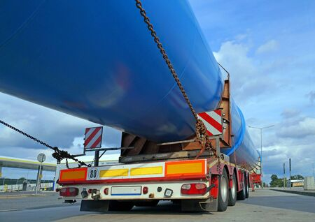 Oversize load. The truck during a break in travel.  Heavy road transport.  Stock Photo