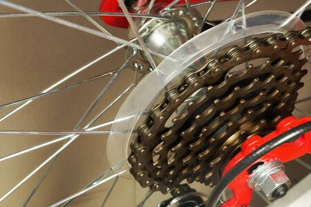 Rear wheel of a red bicycle with a derailleur, close-up on gears.