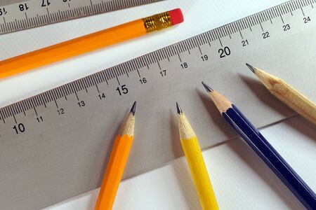 Sharpened pencils, prepared rulers for drawing. Preparation to work.
