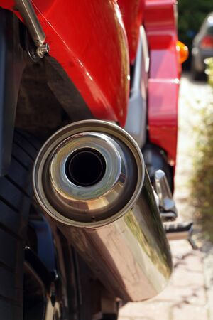 View of a clean exhaust pipe. Newly Purchased Motorcycle.